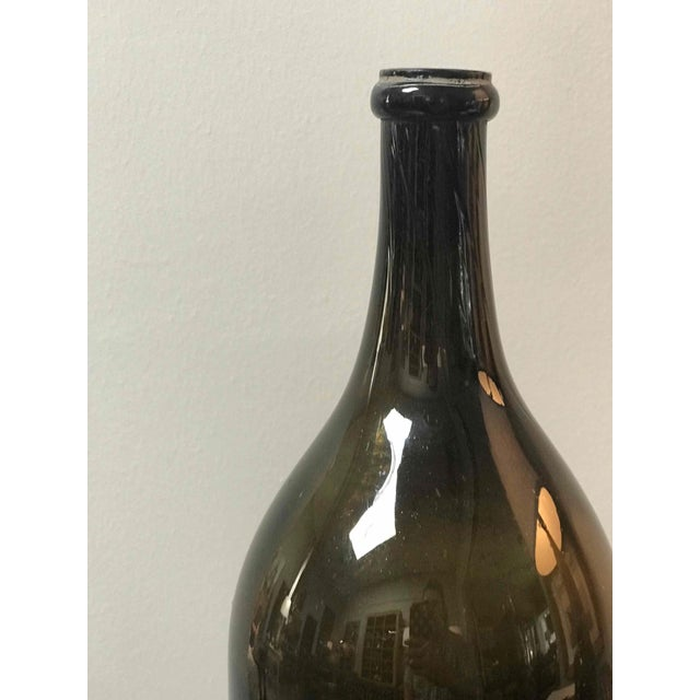 Large Green Blown Glass Bottle From Mid-19th Century France For Sale - Image 4 of 6