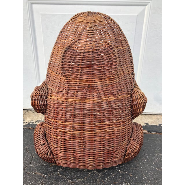 1970s 1970s Boho Chic Wicker Wide Mouth Frog Basket For Sale - Image 5 of 10