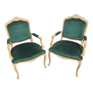 Chateau d'Ax Louis XV Style Carved Arm Chairs- a Pair For Sale