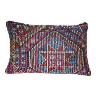 Vintage Geometrical Jajim Kilim Pillow Cover, Wool Farmhouse Decor 14'' X 20'' (35 X 50 Cm) For Sale