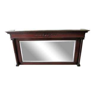 1930's Antique Mahogany Beveled Mirror Mantel For Sale