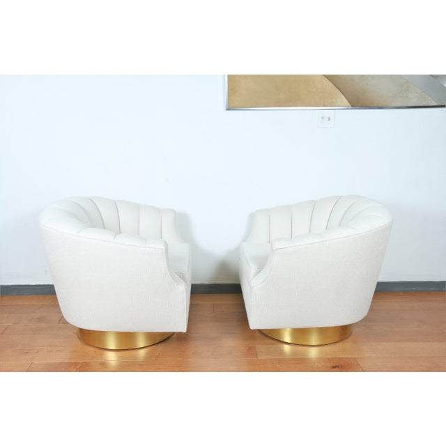 Antique White Milo Baughman Attributed Pair of Swivel Chairs For Sale - Image 8 of 13