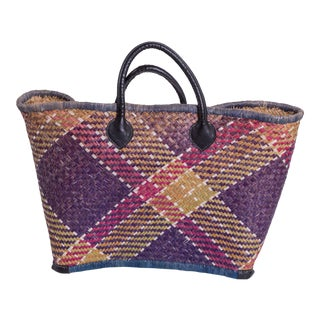 French Handwoven Straw Plaid Basket For Sale
