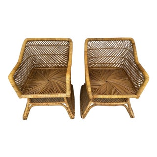 Vintage Boho Chick Wicker Chairs - a Pair For Sale