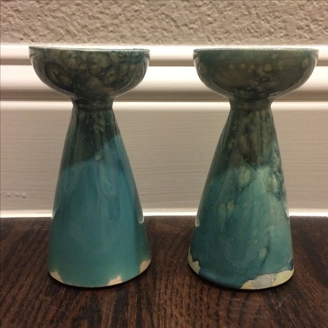 Rustic Turquoise Ceramic Candlesticks - A Pair - Image 2 of 8
