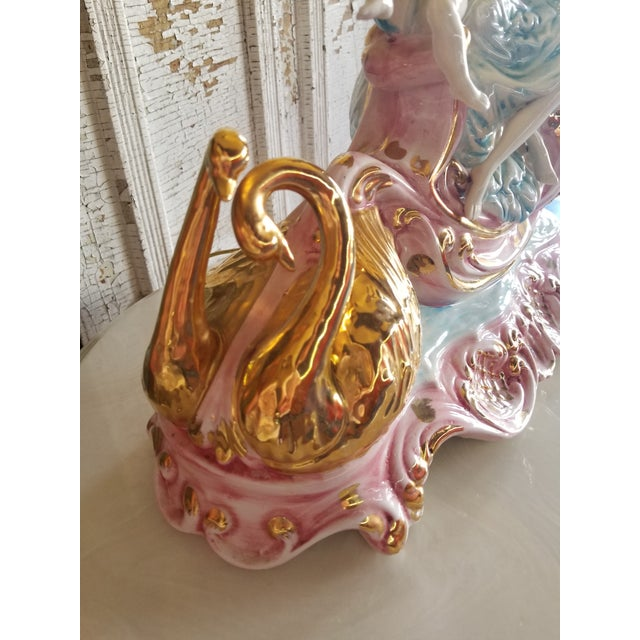 Vintage Mid 20th Century Italian Lady Cherubs Swans Lamps - a Pair For Sale - Image 6 of 12