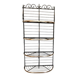 20th Century French Wrought Iron and Brass Bakers Rack For Sale