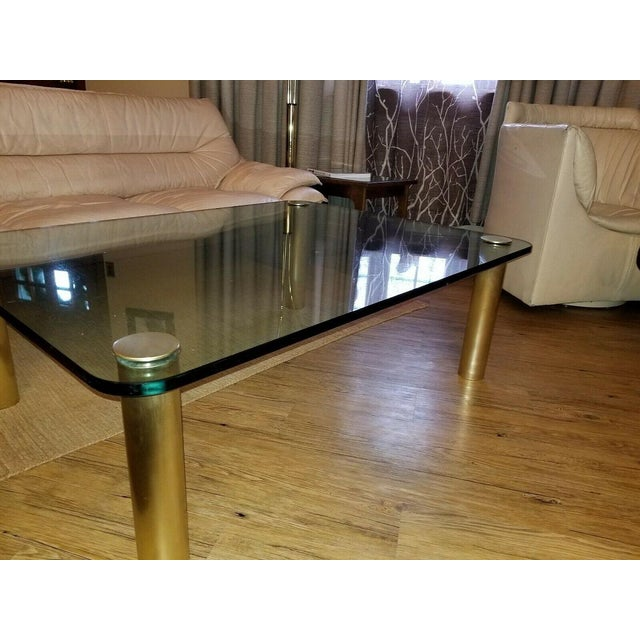 Brass and Glass Coffee Table by the Pace Collection Leon Rosen For Sale - Image 9 of 13