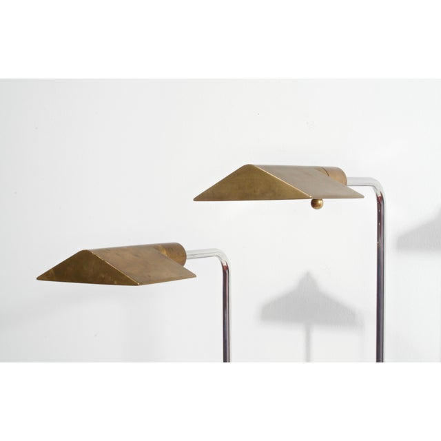 Metal Cedric Hartman Early Brass and Chrome Swivel Floor Lamps, 1960's - a Pair For Sale - Image 7 of 10