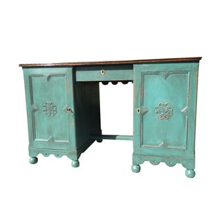 Antique Green Two-Sided Desk For Sale