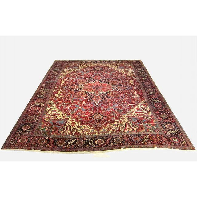 Textile Semi Antique Persian Heriz Rug - 11′6″ × 14′8″ For Sale - Image 7 of 7