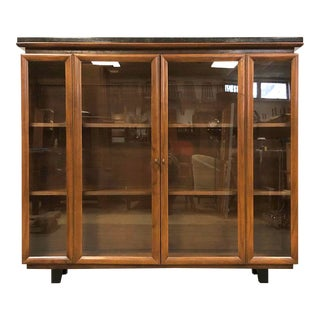 Walnut and Black Granite Mid Century Modern Bookcase For Sale