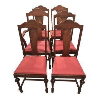 1920s Tiger Oak Chairs - Set of 6 For Sale
