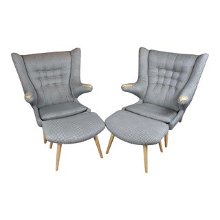"""Hans Wegner Style """"Fabulous"""" Papa Bear Chairs & Footstools-A Pair For Sale"""
