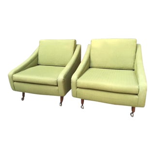 Mid-Century Modern Milo Baughman Green Lounge Chairs - a Pair For Sale