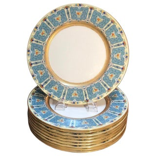 Hand Enameled Blue and Gold Dinner Service Plates - Set of Eleven For Sale