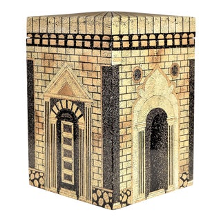 Fornasetti Style Crushed Coconut Pen Shell Lacquered Decorative Box Large For Sale