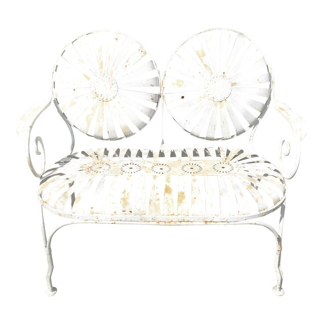 Francois Carre French Sunburst Garden Bench For Sale