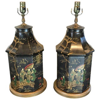 Tole Chinoiserie Tea Canister Lamps - a Pair