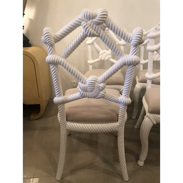 Vintage Nautical White Lacquered Wood Rope Side Dining Chairs -Set of 4 For Sale In West Palm - Image 6 of 10