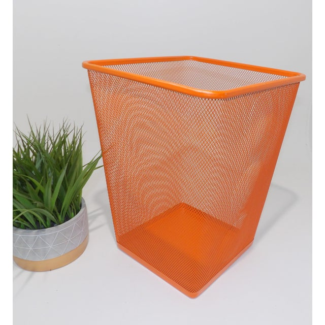 Stunning pop of color for any mid century modern home. Adorable vintage garbage can painted a fresh Orange color. Perfect...