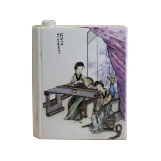 Chinese Oriental Scenery Paint Graphic Ceramic Book Shape Mini Vase For Sale