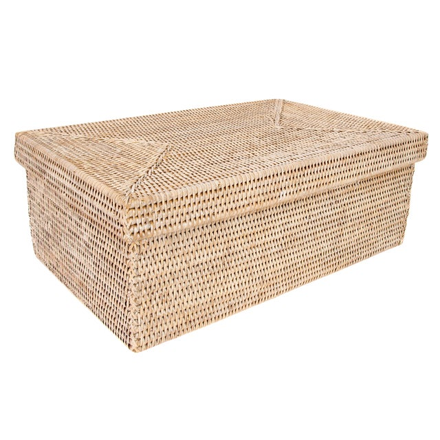 Artifacts Rattan Rectangular Storage Box With Lid For Sale