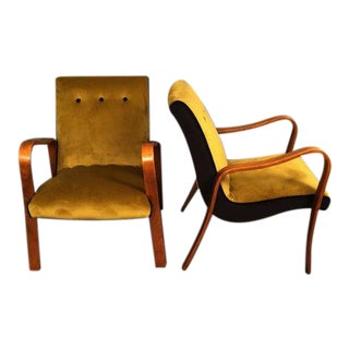 Mid-Century Thonet Restored Bentwood Armchairs - a Pair