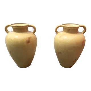 1980s Americana Yellow Glazed Earthenware Jars - a Pair For Sale