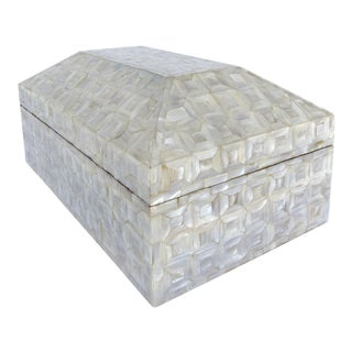 Large Mother-Of-Pearl Tessellated Coffered Hinged Lid Box