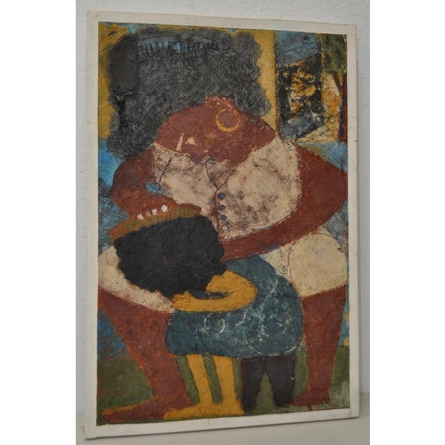 "Circa 1964 Vintage ""Combing Hair"" Haitian Painting - Image 2 of 8"
