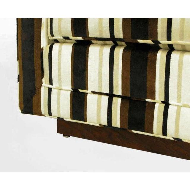 Marden Even-Arm Striped Velvet Tuxedo Sofa For Sale In Chicago - Image 6 of 8