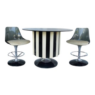 1970s Mid-Century Modern Chromecraft Acrylic & Chrome Dry Bar & Two Stools - 3 Pieces