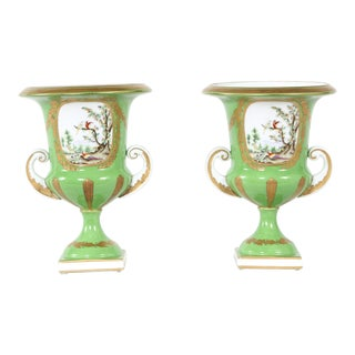 Mid 20th Century English Porcelain Floral Vases / Urns - a Pair For Sale