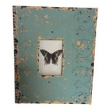 Image of Butterfly Print Framed in Painted Tin Fragment For Sale