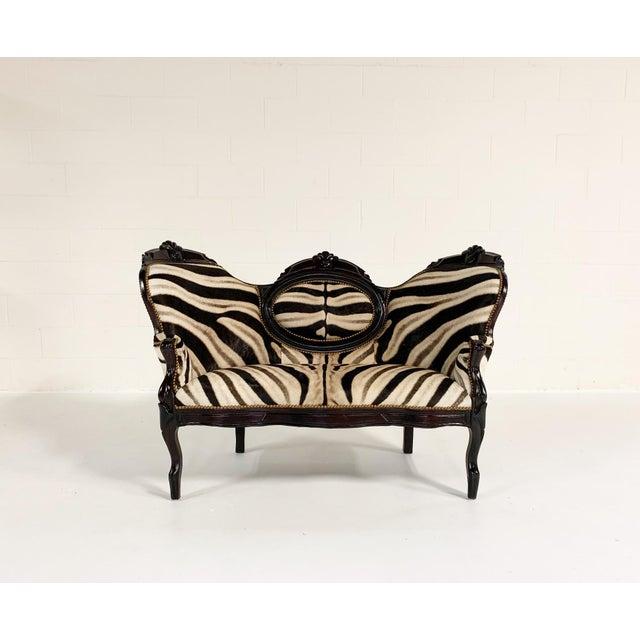Antique Settee in Zebra Hide For Sale - Image 9 of 9