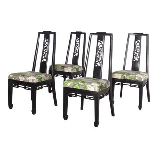 Black Chinoiserie Side Chairs With Mary McDonald for Schumacher Upholstery - Set of 4 For Sale