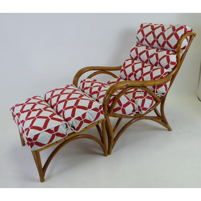 1940s Tropical Modern Rattan Lounge Chair and Ottoman For Sale - Image 12 of 13
