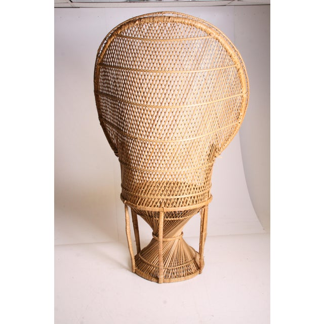 Vintage Boho Chic Wicker Peacock Chair For Sale - Image 4 of 11