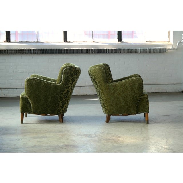 Green Pair of Danish 1940s Fritz Hansen Model 1669 Style Lounge Chairs For Sale - Image 8 of 11