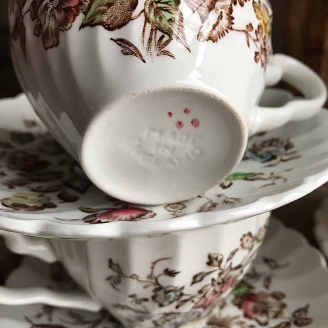 4 Vintage English Ironstone Cups & Saucers - 8 Pieces For Sale - Image 5 of 9