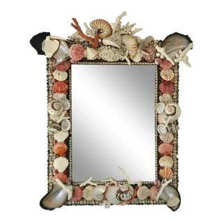 Decorative Seashell Encrusted Frame Mirror For Sale