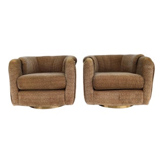 Vintage 1970s Milo Baughman Swivel Chairs - a Pair For Sale