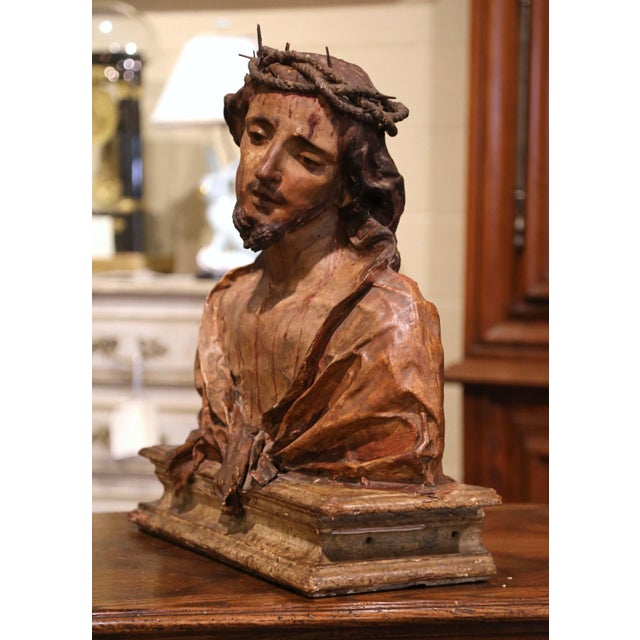 Mid 18th Century 18th Century Italian Carved Paper Polychrome Mâché Christ Bust on Wooden Stand For Sale - Image 5 of 9