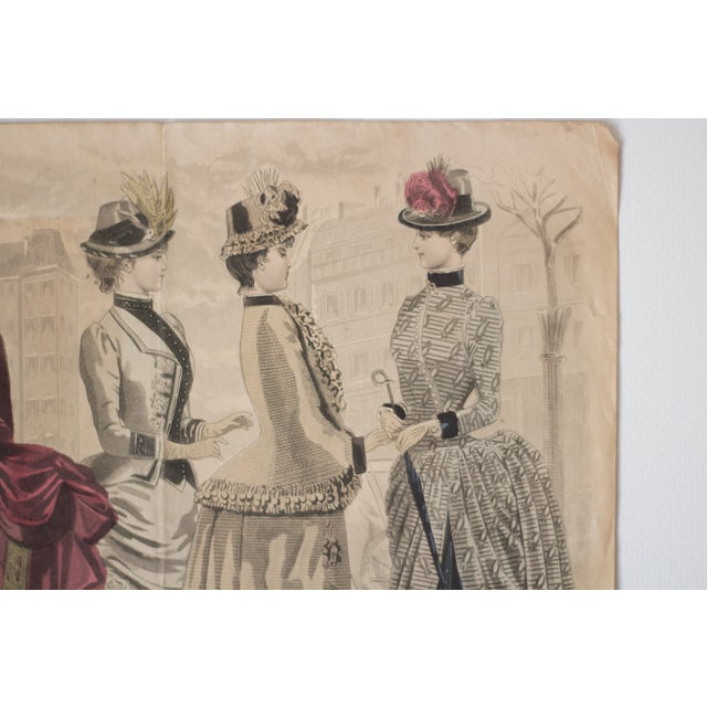 Antique High-Society Dressed Fashion Print, 1880s For Sale - Image 4 of 5