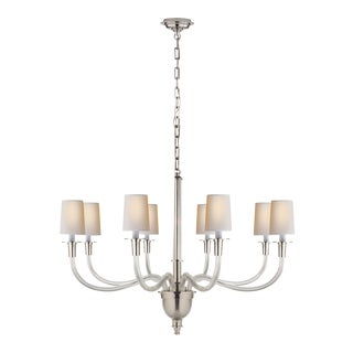 Visual Comfort Thomas O'Brien Vivian 8 Light 36 Inch Polished Nickel Chandelier For Sale