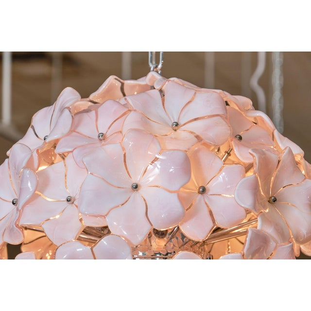 Italian Murano Glass Pink Flower Chandelier by Cenedese For Sale - Image 3 of 10