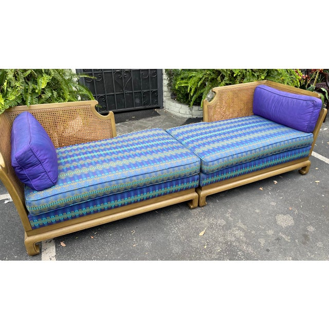 Grosfeld House Hollywood Regency Mid Century Modern Chinese Chippendale 2 Part Sofa. Down filled purple and green cushions...
