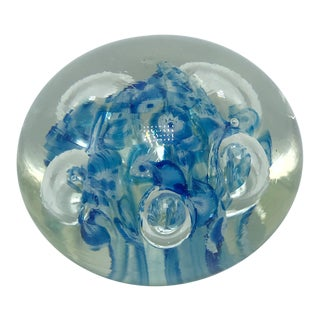 Vintage Abstract Blue Swirl Glass Paperweight For Sale
