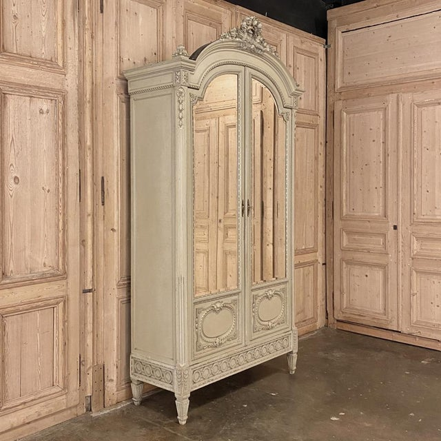 French 19th Century French Louis XVI Painted Armoire For Sale - Image 3 of 13